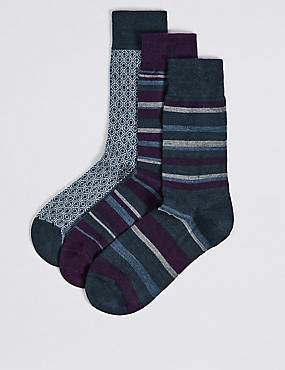 3 Pairs of Merino Wool Rich Striped Socks