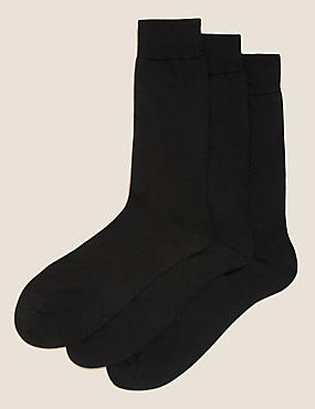 3 Pack Merino Wool Rich Socks, BLACK, catlanding