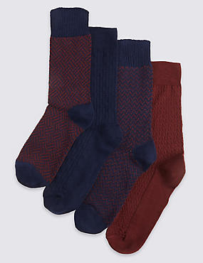 4 Pairs of Freshfeet™ Cotton Rich Weave Socks with Silver Technology