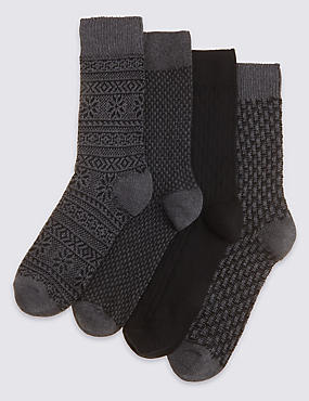 4 Pairs of Freshfeet™ Cotton Rich Socks with Silver Technology