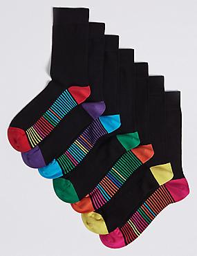7 Pack Freshfeet™ Striped Sole Socks, BLACK MIX, catlanding