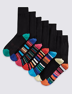 7 Pairs of Freshfeet™ Stay Soft Cotton Rich Assorted Socks with Silver Technology