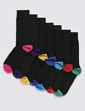 7 Pairs of Freshfeet™ Cotton Rich Contrast Heel & Toe Striped Socks