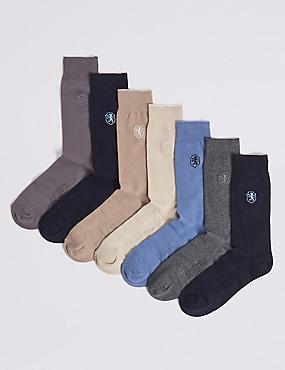 7 Pack Cool & Freshfeet™ Socks, NEUTRAL, catlanding