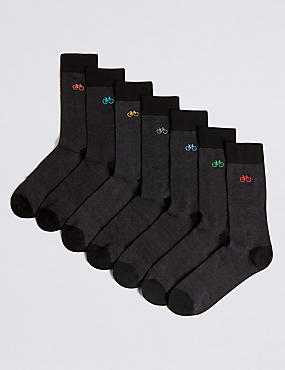 7 Pack Bicycle Design Freshfeet™ Socks, GREY MIX, catlanding