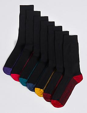 7 Pack Cool & Fresh™ Days of the Week Socks, BLACK MIX, catlanding