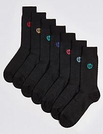 7 Pairs of Cool & Freshfeet™ Embroidered Socks