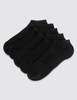 5 Pairs of Freshfeet™ Cotton Rich Trainer Liner Socks Clothing