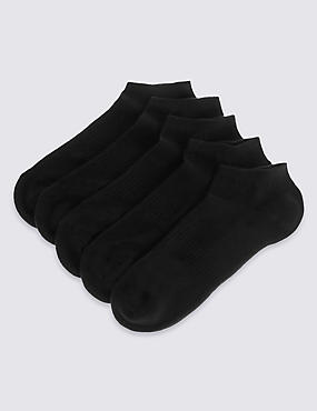 5 Pairs of Freshfeet™ Cotton Rich Trainer Liner Socks