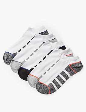 5 Pack Cotton Rich Trainer Liner Socks, WHITE MIX, catlanding