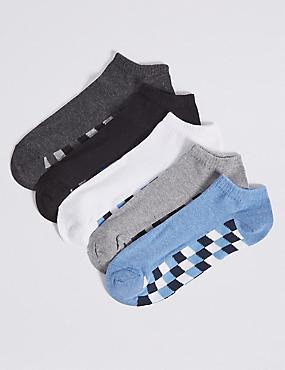 5 Pack Cotton Rich Trainer Liner Socks, BLUE MIX, catlanding