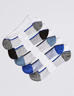 5 Pack Cotton Rich Trainer Liner Socks, WHITE MIX, catlanding