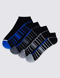 4 Pairs of Striped Sole Trainer Liner Socks