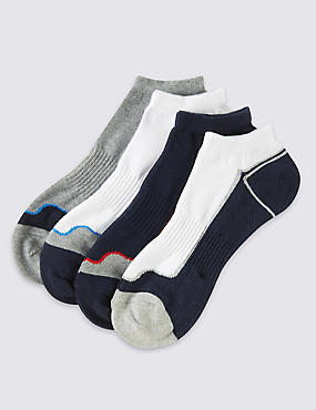 4 Pairs of Cotton Rich Cool & Fresh™ Sports Trainer Liners