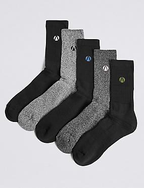 5 Pack Cotton Rich Socks, BLACK/GREY, catlanding
