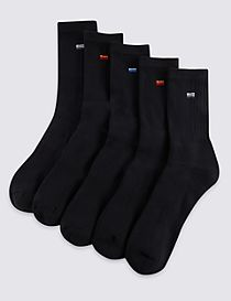 5 Pairs of Cotton Rich Cool & Fresh™ Full Length Sports Socks