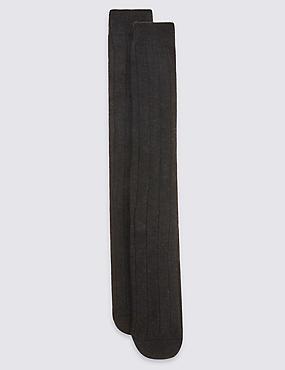 2 Pack Long Wool Blend Thermal Socks, CHARCOAL, catlanding