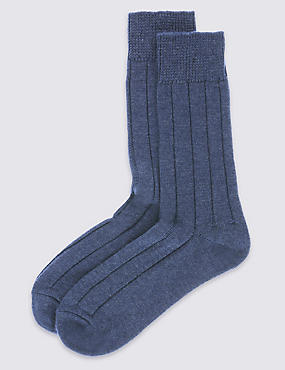 2 Pairs of Wool Blend Short Thermal Socks
