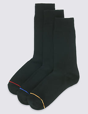 3 Pack Heatgen™ Striped Thermal Socks, BLACK MIX, catlanding