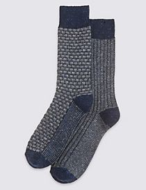 2 Pairs of Thermal Texture Design Socks
