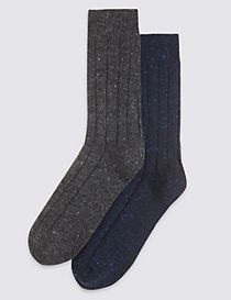 2 Pair Pack Thermal Rib Socks with Wool