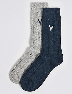 2 Pairs of Embroidered Socks