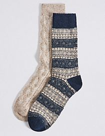 2 Pairs of Thermal Wool Fairisle Socks