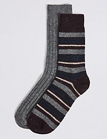 2 Pairs of Thermal Wool Striped Socks