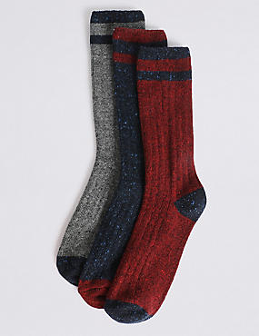 3 Pack Wool Blend Striped Thermal Socks, NAVY MIX, catlanding