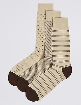 3 Pack Cotton Rich Socks, BEIGE MIX, catlanding