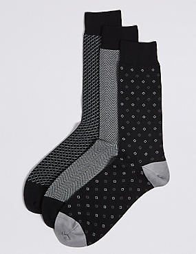 3 Pack Cotton Rich Socks, GREY MIX, catlanding