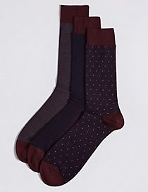 3 Pairs of Cotton Rich Assorted Socks