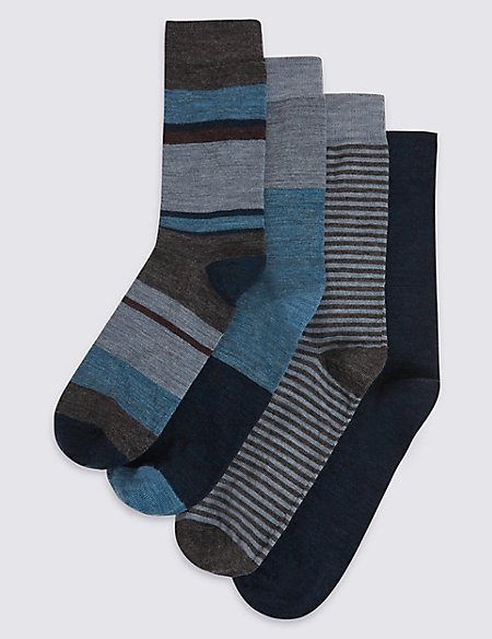 4 Pairs of Lambswool Blend Assorted Socks