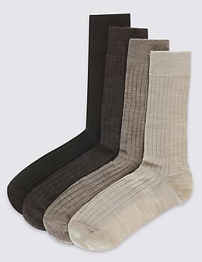 4 Pack Lambswool Rich Socks, BROWN MIX, catlanding