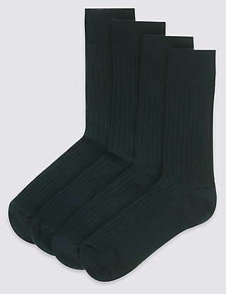 4 Pairs of Lambswool Blend Self Striped Socks Clothing