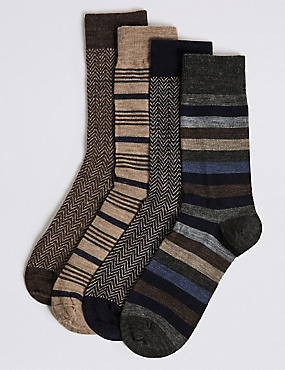 4 Pack Wool Rich Assorted Socks, NEUTRAL, catlanding