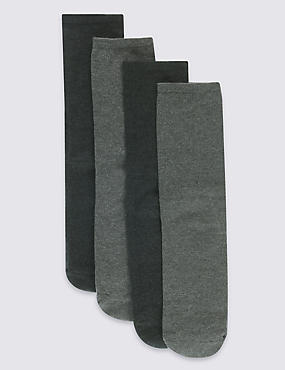 4 Pack Cotton Modal Comfort Socks, GREY MIX, catlanding