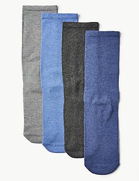 4 Pack Cotton Blend Freshfeet™ Socks, BLUE MIX, catlanding