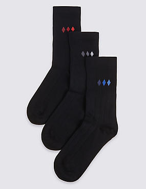 3 Pairs of Non Elastic Freshfeet™ Diamond Print Socks