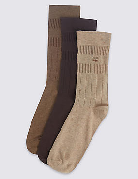3 Pairs of Cotton Rich Non Elastic Socks