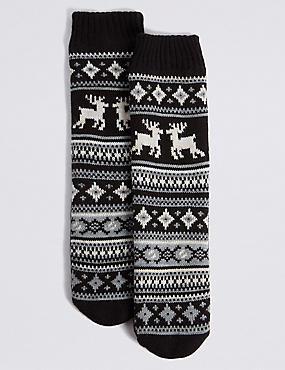 Fairisle Slipper Socks, BLACK MIX, catlanding