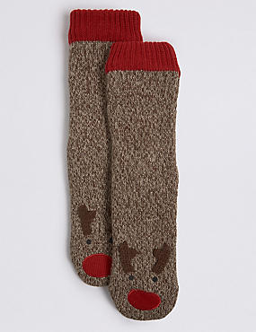 Rudolph Slipper Socks, BROWN MIX, catlanding