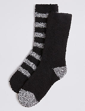 2 Pack Bed Socks, BLACK MIX, catlanding
