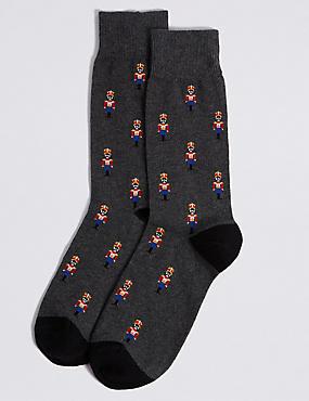 Toy Soldier Design Cotton Rich Socks, BLACK MIX, catlanding