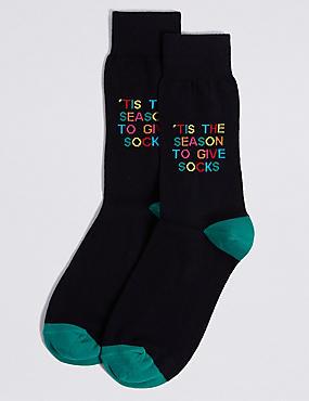Cotton Rich Socks, NAVY MIX, catlanding