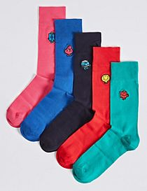 5 Pairs of Cotton Rich Embroidered Socks
