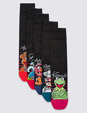 5 Pairs of the Muppets Cotton Rich Socks