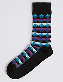 Cotton Rich Printed Socks