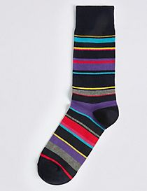 Cotton Rich Multi Colour Striped Socks