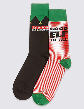 2 Pairs of Christmas Elf and Safety Socks